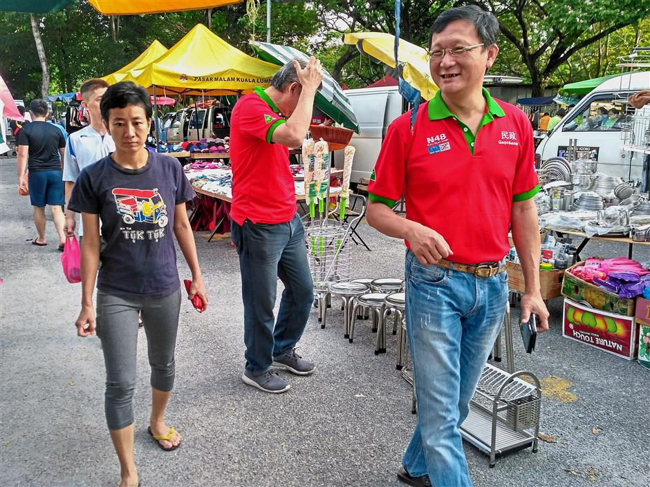Tiew (right), who is Klang Gerakan division secretary, is tipped to be the BN candidate for Kota Kemuning.