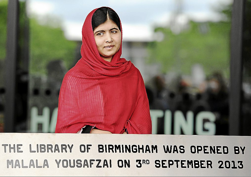 Malala Yousafzai at the official opening of the Library of Birmingham in central England on Sept 3, 2013. -- EPA