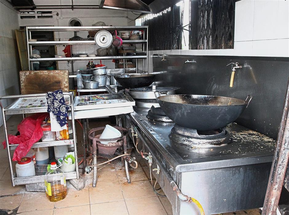 The dirty kitchen in one of the restaurants.