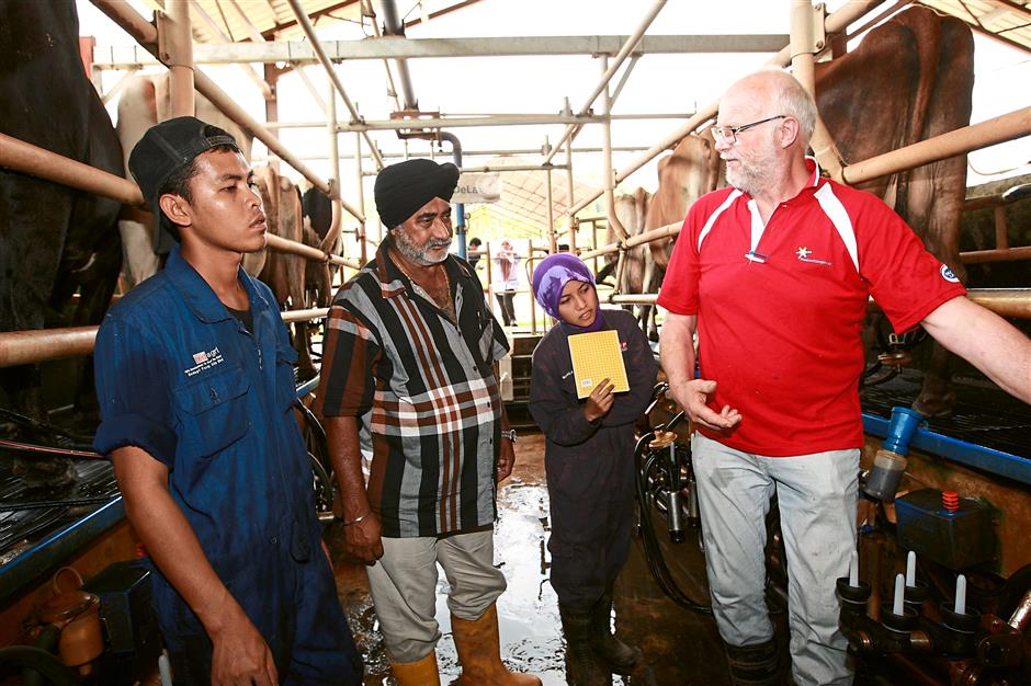 Increasing output: Minne Holtrop (right) advising Perak-based farmer Harban Singh (second from right) on how to optimise milk production, while two Universiti Putra Malaysia students who are under practical training look on.