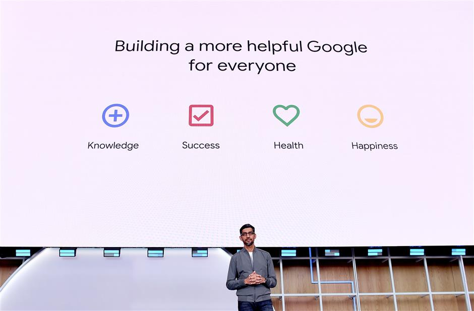 Google CEO Sundar Pichai speaks during the Google I/O 2019 keynote session at Shoreline Amphitheatre in Mountain View, California on May 7, 2019. (Photo by Josh Edelson / AFP)