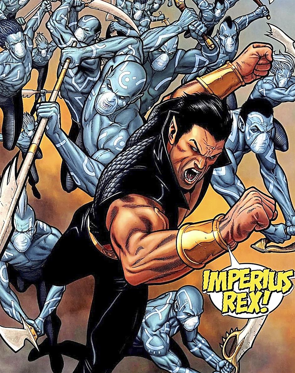 Hail to the king, baby: Namor and his Atlantean army entering the fray during the Civil War event.
