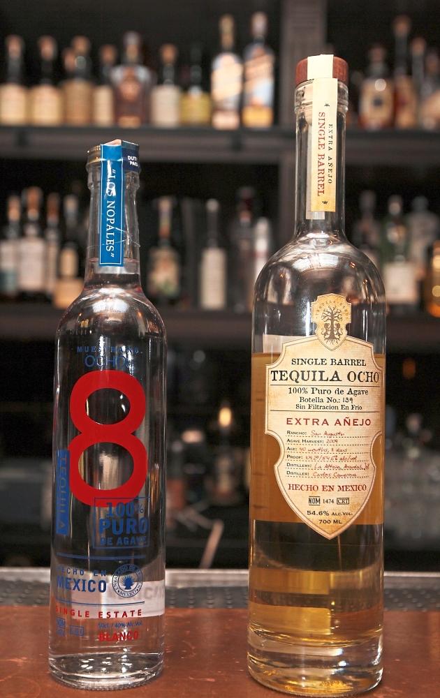 Ocho Blanco Tequila (left)and the Single Barrel Tequila Ocho Extra Anejo.