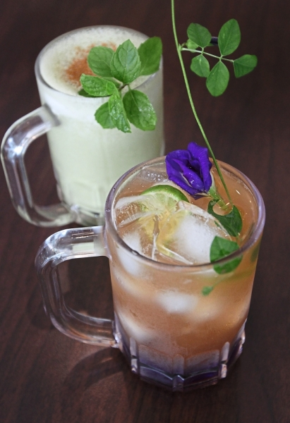 The refreshing Blue Butterfly Flower Organic Mocktail and Matcha Horchata.