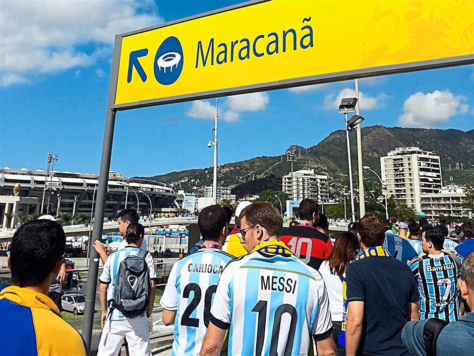 Visiting the Maracana Stadium, where the World Cup final was held.