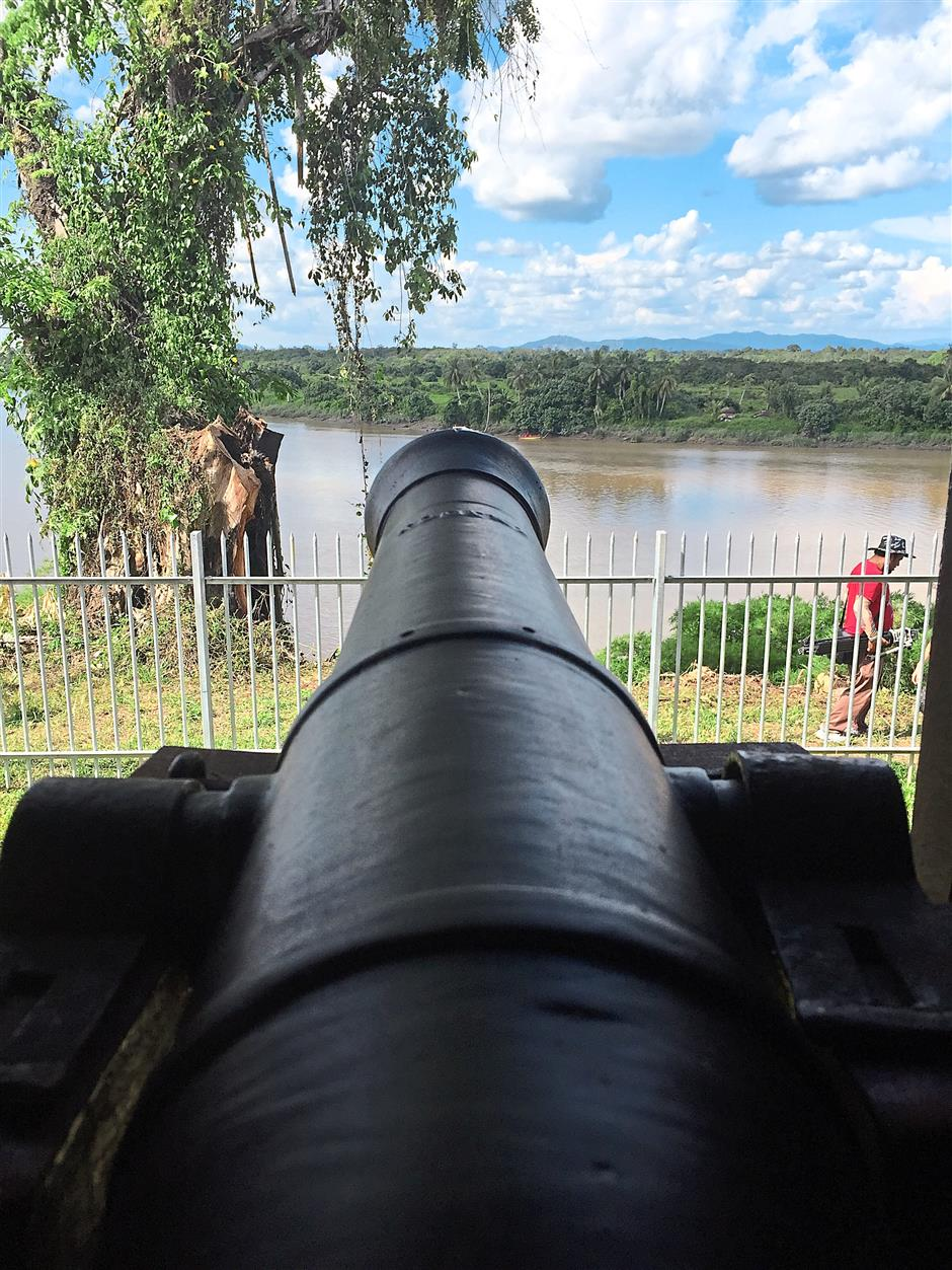 Well placed: A canon overlooking the mighty Batang Lupar. It was near here that battles with the legendary Rentap warrior took place