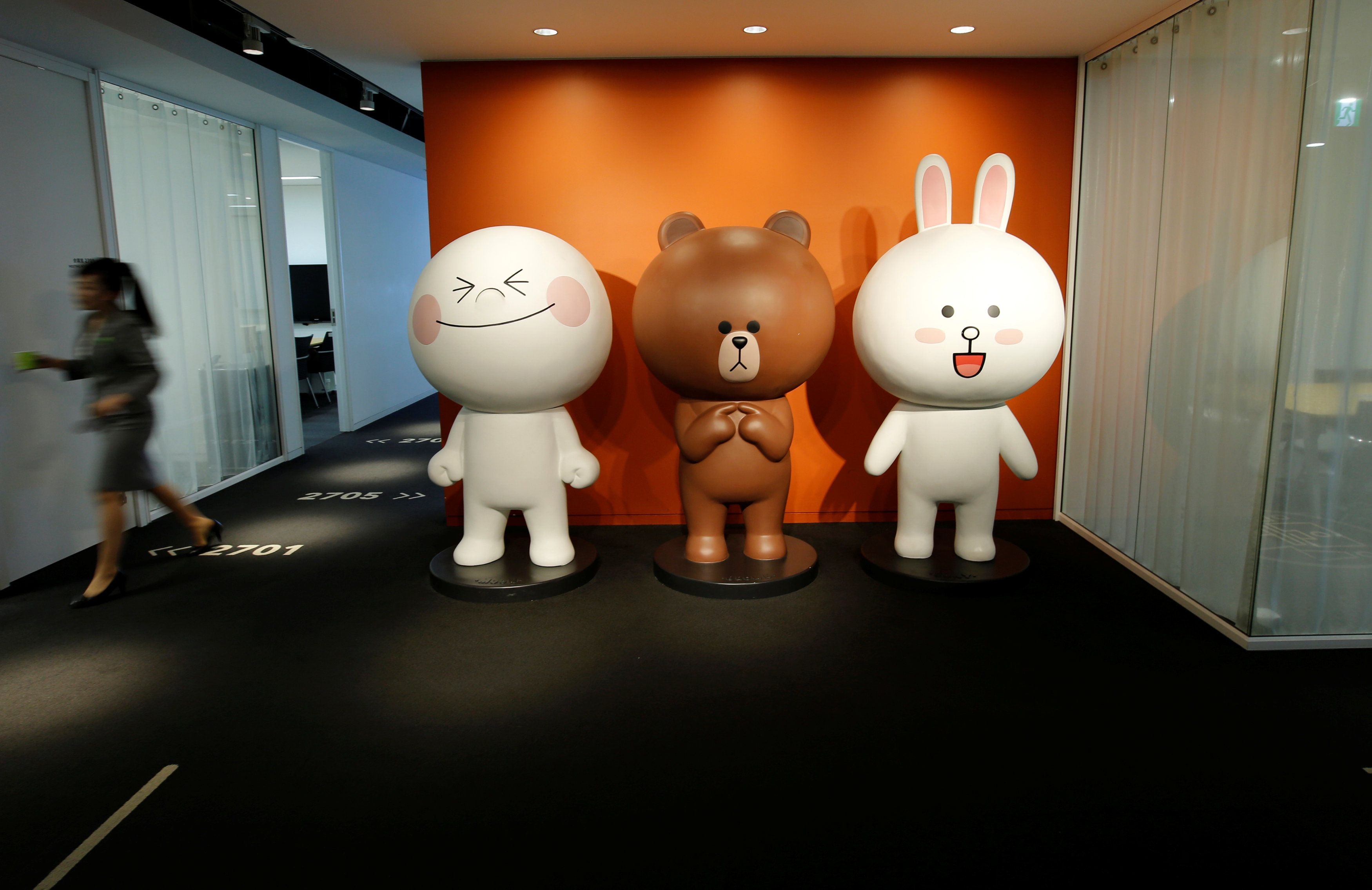 Line characters are seen at the Line Corp\'s headquarters in Tokyo, Japan June 2, 2016.  REUTERS/Toru Hanai
