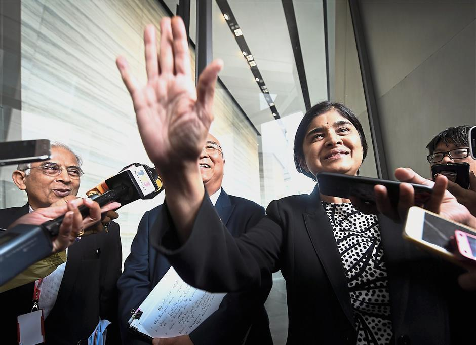 In their hands now: Ambiga talking to reporters after the IRC meeting with CEP members at Ilham Tower in Kuala Lumpur. — Bernama