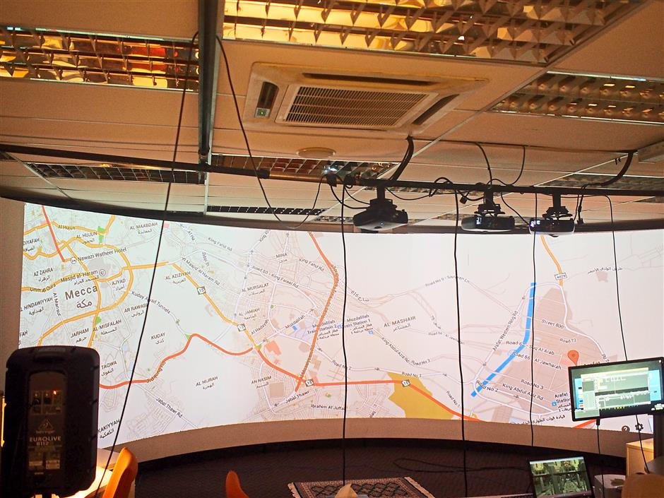 Eye in the sky: The large screens can be used to project large maps.