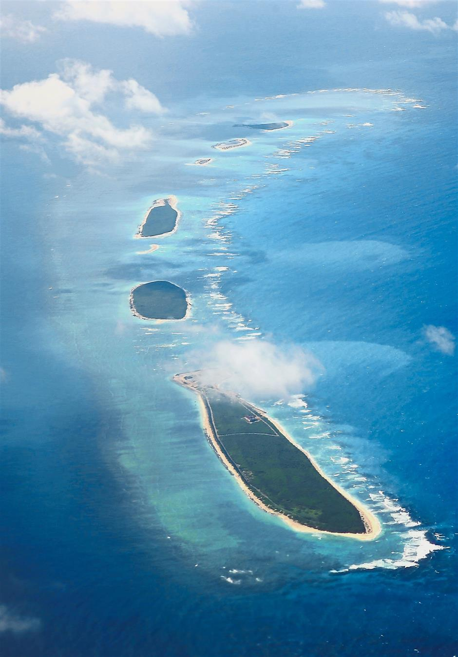 Maritime dispute: An aerial view of Qilianyu islands in the Paracel chain, which China considers part of Hainan province. — AFP