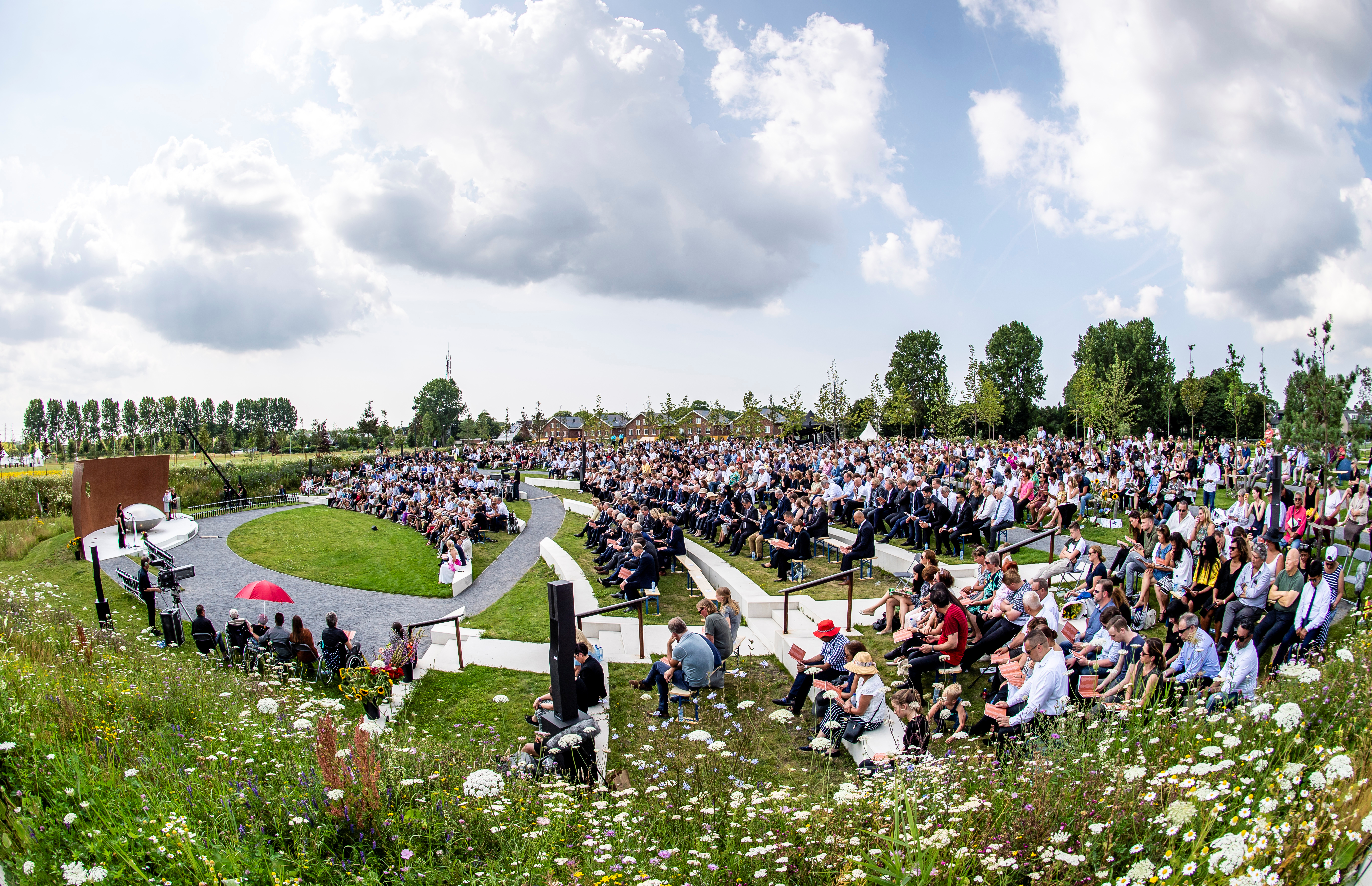 Relatives attend a commemoration ceremony in memory of the victims of the Malaysia Airlines flight MH17 plane crash on the fifth anniversary of the accident, in Vijfhuizen, Netherlands June 17, 2019.  Frank Van Beek/Pool via REUTERS