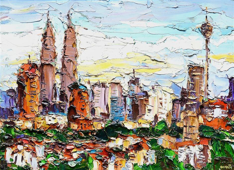 'Majestic Kuala Lumpur', a 2010 painting of the Malaysian capital's skyline.