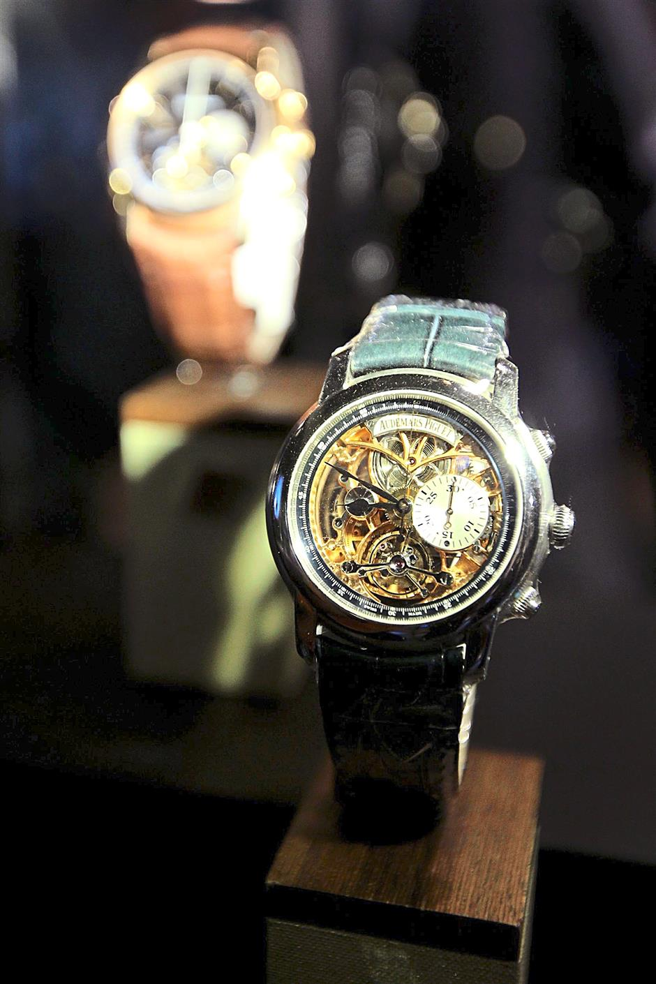 Audemars Piguet tourbillon timepieces on display at the launch of the 100 Tourbillons exhibition at Sincere Fine Watches, Suria KLCC on Oct 8. GLENN GUAN/The Star