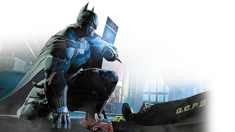SOLVING CRIMES: The Bat has to figure out the crime scene in Batman: Arkham Origins. *BYTZ USE ONLY*