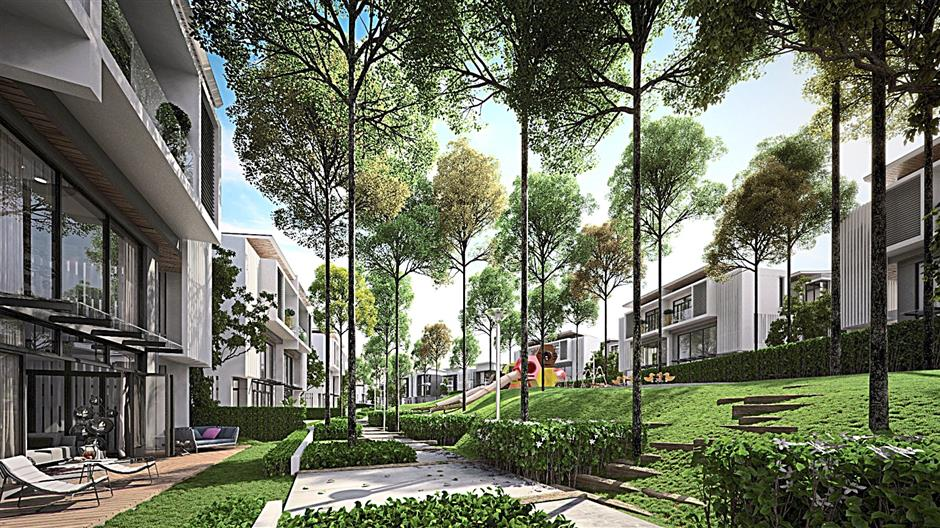 A rendering of the linear park in Paramount Property's Sejati Residences.