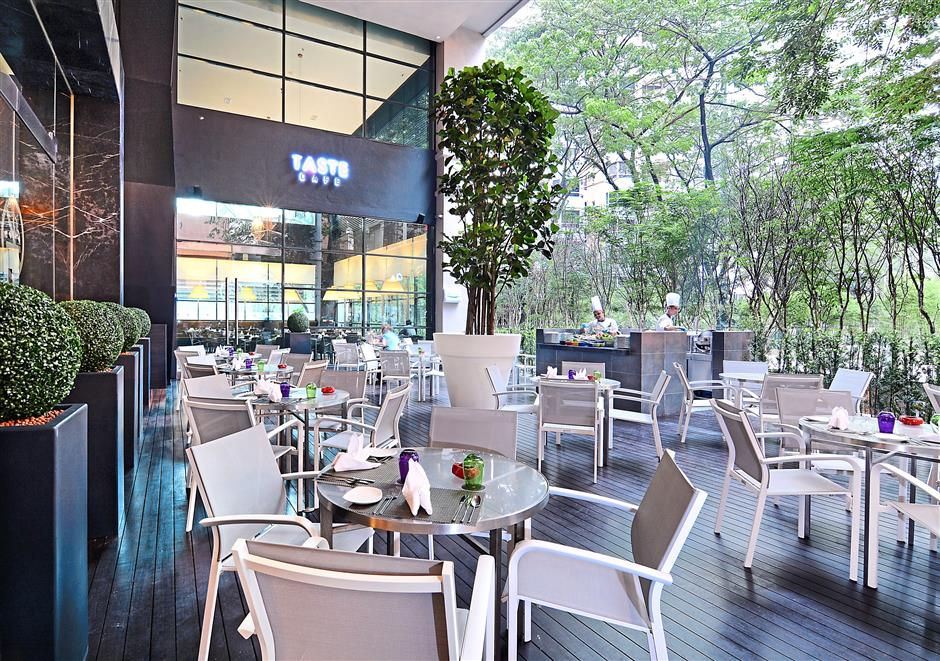 Taste Cafe's alfresco deck, surrounded by lush greenery is great for those who like dining outdoors.