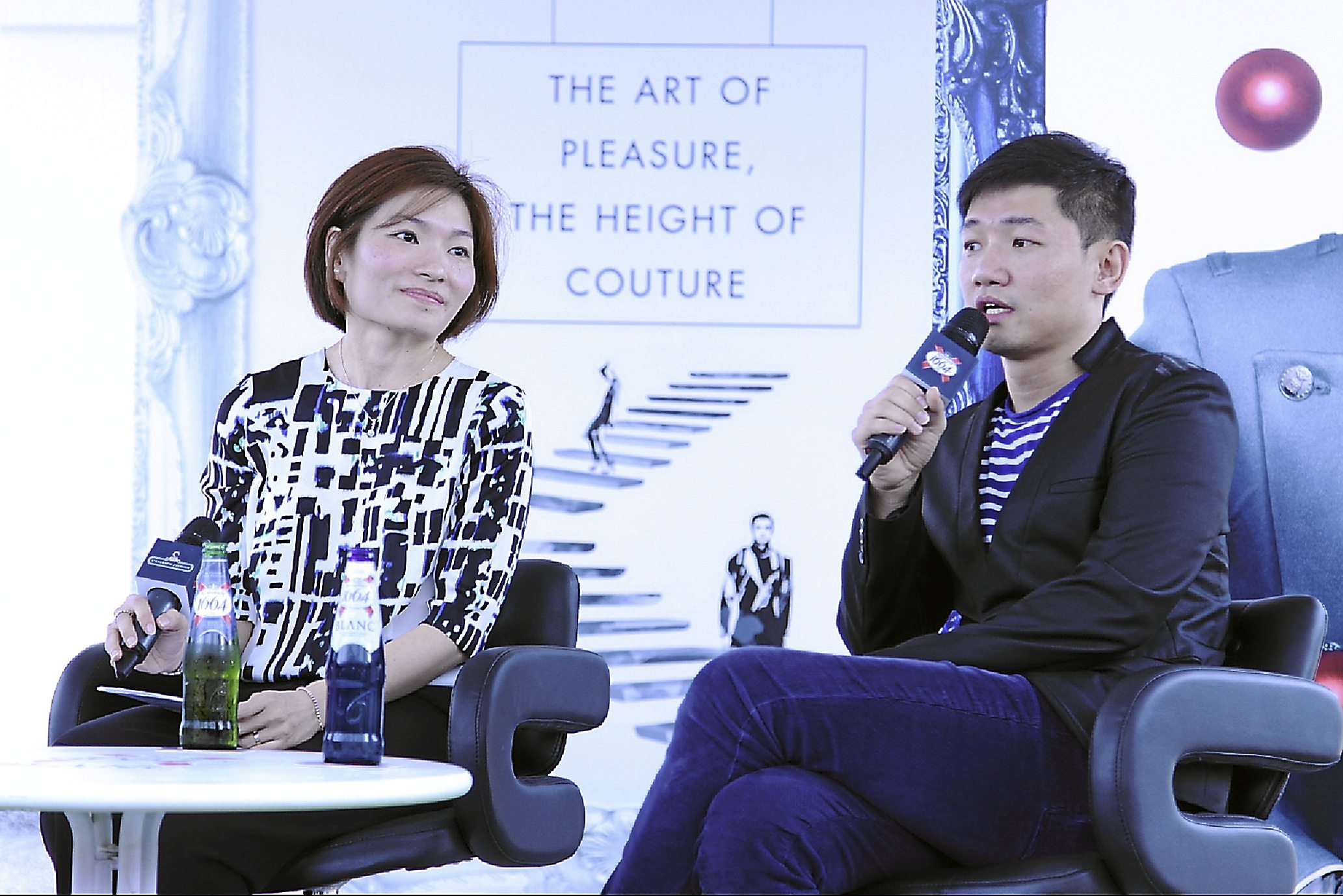 Fashion designer Keith Kee and Carlsberg Malaysia marketing director Juliet Yap during the media Q&A session at the Kronenbourg 1664 L¿Aperitif Fashion 2013 showcase.