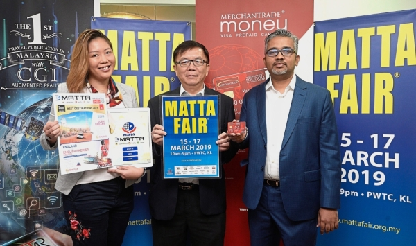 (From left) Au, Phua and Sarveswaran revealing what MATTA Fair has to offer from March 15 to 17 at PWTC, Kuala Lumpur.