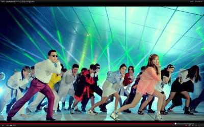 A picture of Psy\'s Gangnam Style on YouTube.