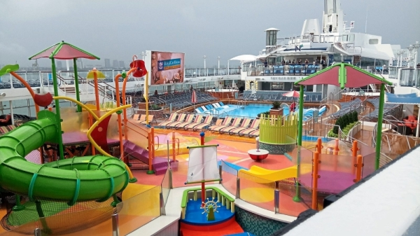 The childrenu2019s playground overlooking the pool onboard the Spectrum of the Seas cruise ship as it docks at Swettenham Pier Cruise Terminal in Penang.