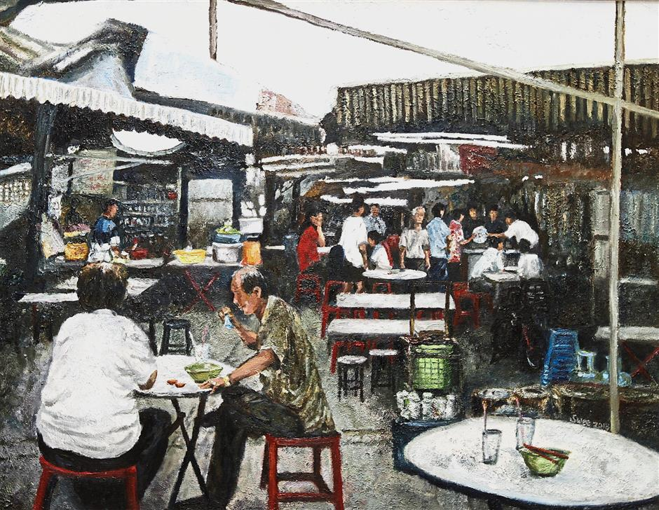 An oil on canvas piece called 'Once Upon A Time in Sia Boey' which reimagines the now defunct market.