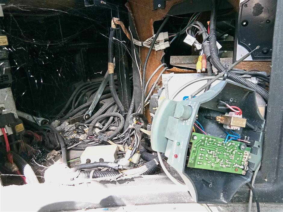 Drivers' dashboards have been ripped apart for their electronic components.