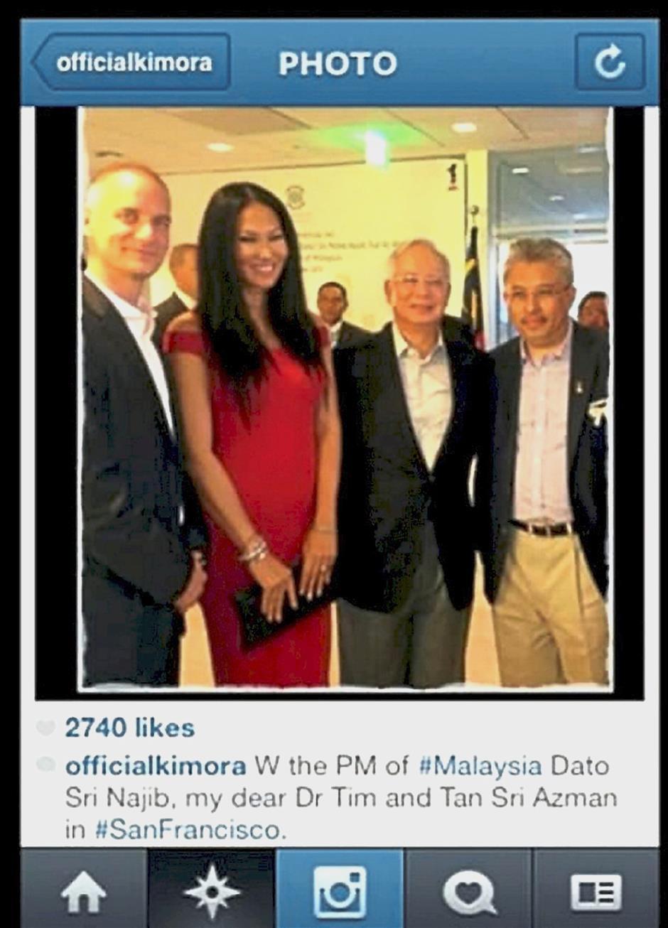 Famous company: A screenshot taken from Leissner's designer wife Kimora Lee's Instagram account showing (from left) Leissner, Kimora, former prime minister Datuk Seri Najib Tun Razak and Khazanah managing director Tan Sri Azman Mokhtar in 2013.