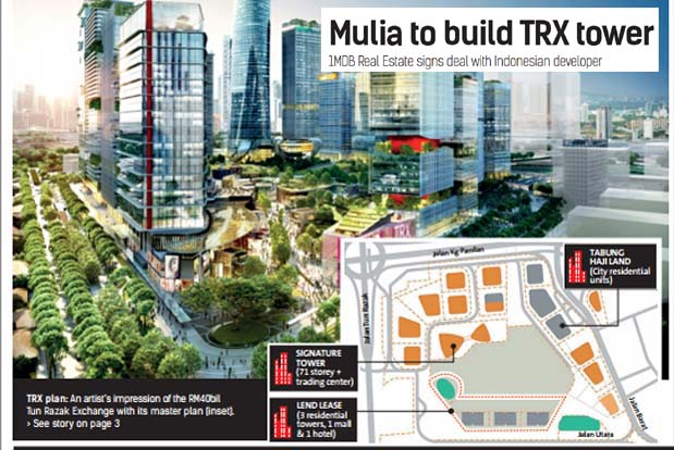 1mdb Real Estate Signs With Indonesia S Mulia To Build Trx Tower The Star