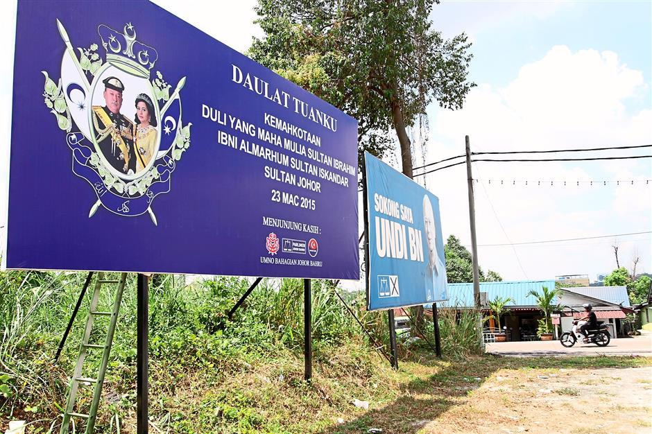 Banners and Huge billboards have been put up among major roads in Johor Baru with Daulat Tuanku in conjunction with the Johor Rulers coronation on March 23 2015.