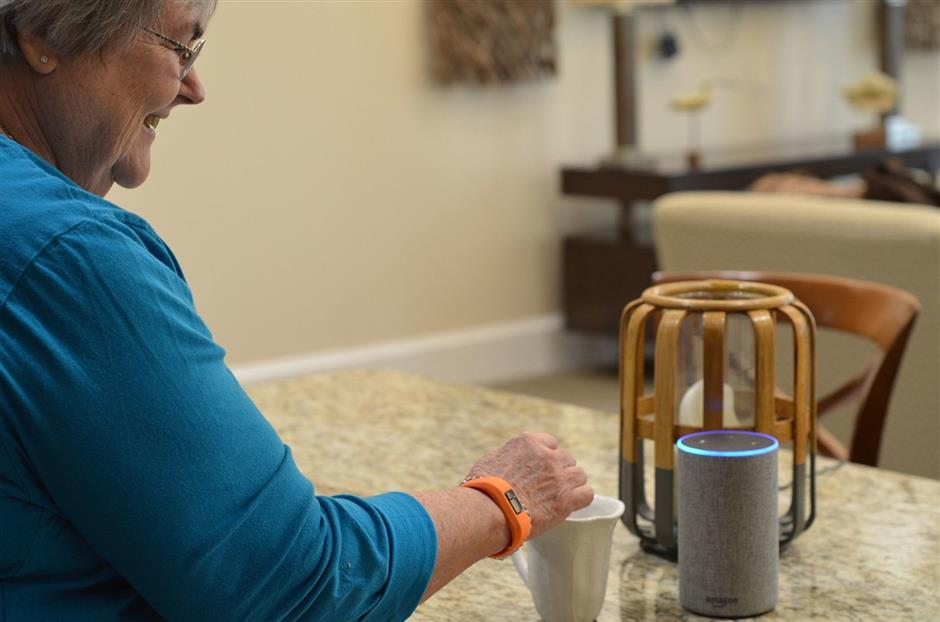Cardinal at North Hills resident Libby Powell uses her Amazon Alexa voice service.(Courtesy K4Connect)
