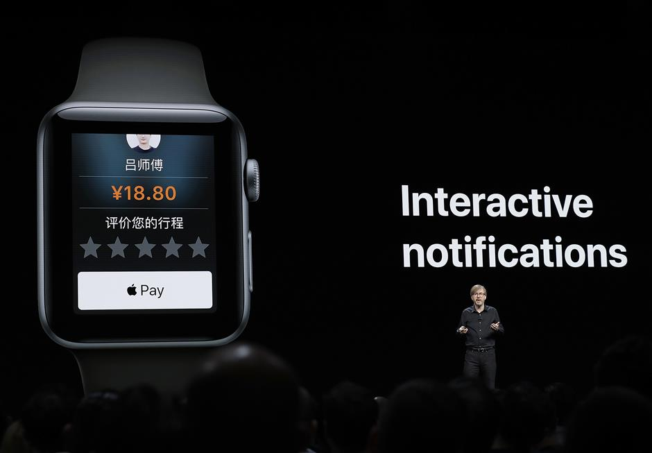 Kevin Lynch, Apple\'s vice president of technology, speaks about the Apple Watch during an announcement of new products at the Apple Worldwide Developers Conference Monday, June 4, 2018, in San Jose, Calif. (AP Photo/Marcio Jose Sanchez)