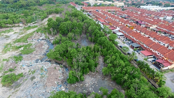 Residents claim domestic and renovation waste have been dumped in swamp area facing their houses.