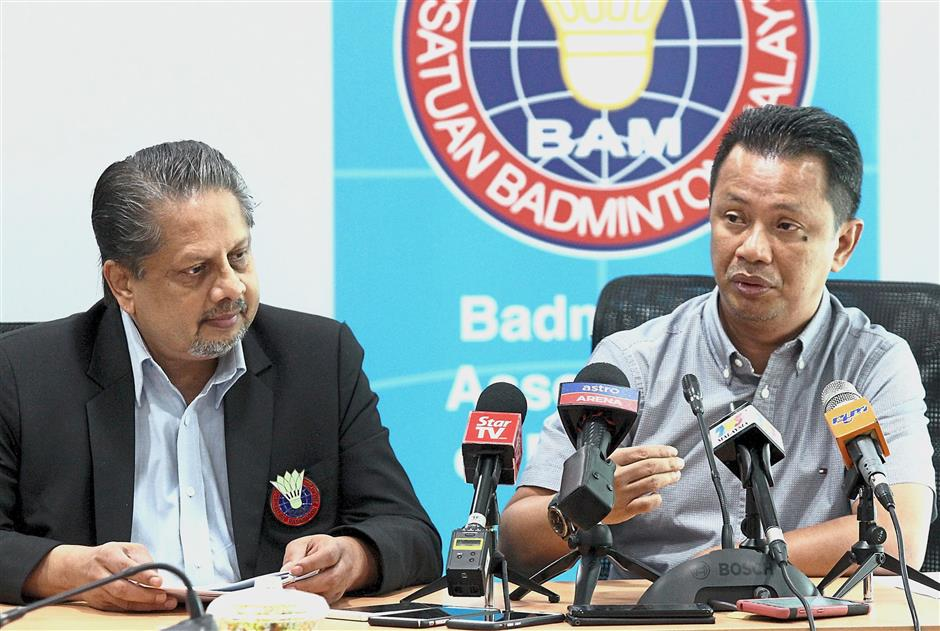 Verdict is out: BAM president Datuk Seri Norza Zakaria (right) and BAM Rules, Disciplinary and Integrity committee member Jadaddish Chandra at the press conference yesterday.