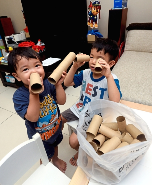 Yew is collecting used toilet paper rolls to turn into toys for her sons.