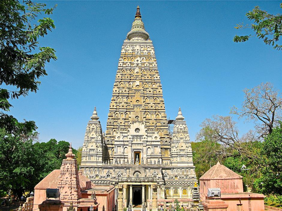 The Mahabodhi Temple in Bodhgaya marks the location where Buddha is said to have attained enlightenment.