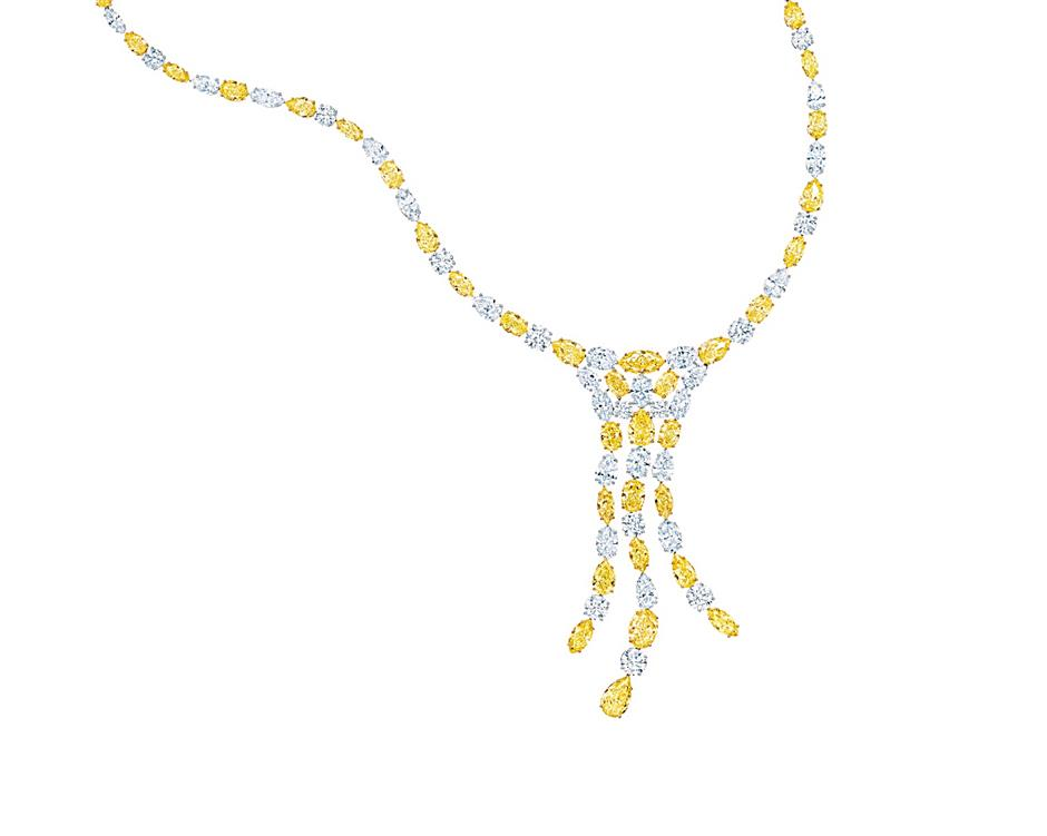 Tiffany & Co will be presenting its famous Tiffany Yellow Diamonds in a stunning Yellow and White Diamond Cascade necklace, totalling 42.0 carats that alternate with white diamonds in a necklace with a setting so subtle the stones cascade freely, like a waterfall.