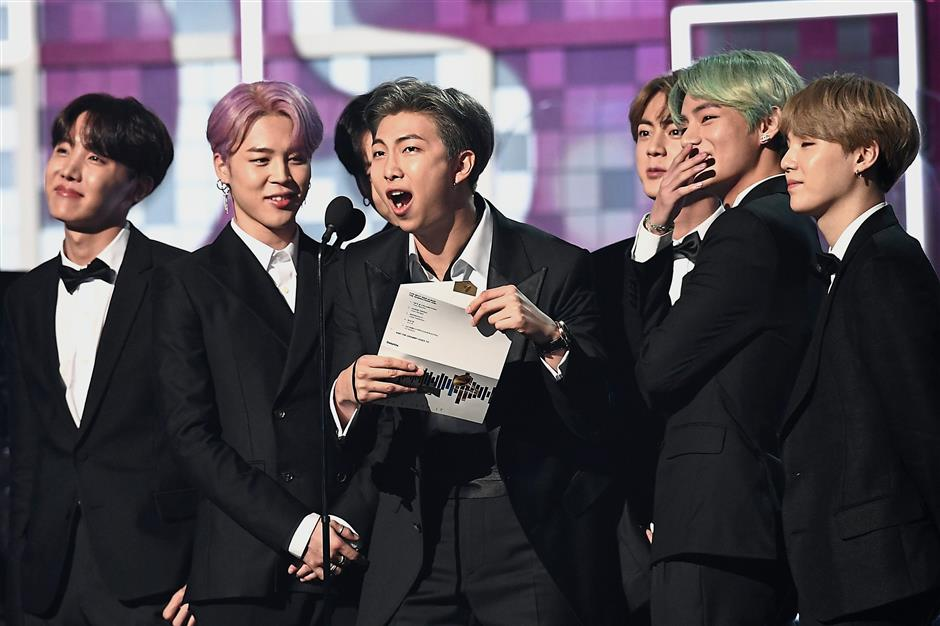In the spotlight: BTS presenting the award for Best R&B Album during the 61st Annual Grammy Awards in Los Angeles. u2014 AFP