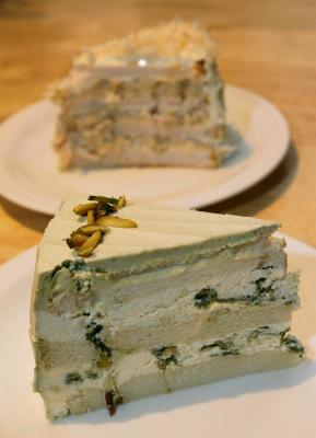 <b>Made without eggs:</b> Pistachio Cake (front) and Ube Yam Cake.