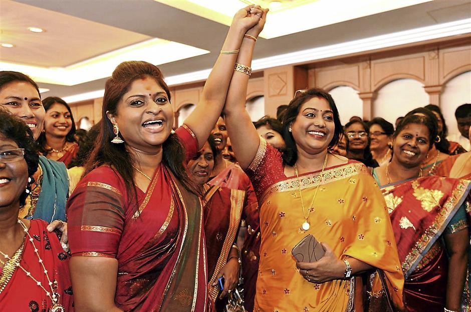 From left Mohana Muniandy and M. Vickneswari Nominations of MIC pose Wanita at  Wiisma MIC
