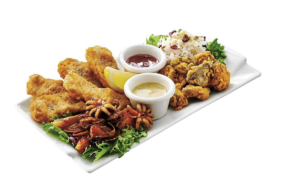 For sharing: The Quad Delight consists of Fried Country Mushroom, Fried Calamari, Cranberry Coleslaw, and Chilled Seafood Mix.
