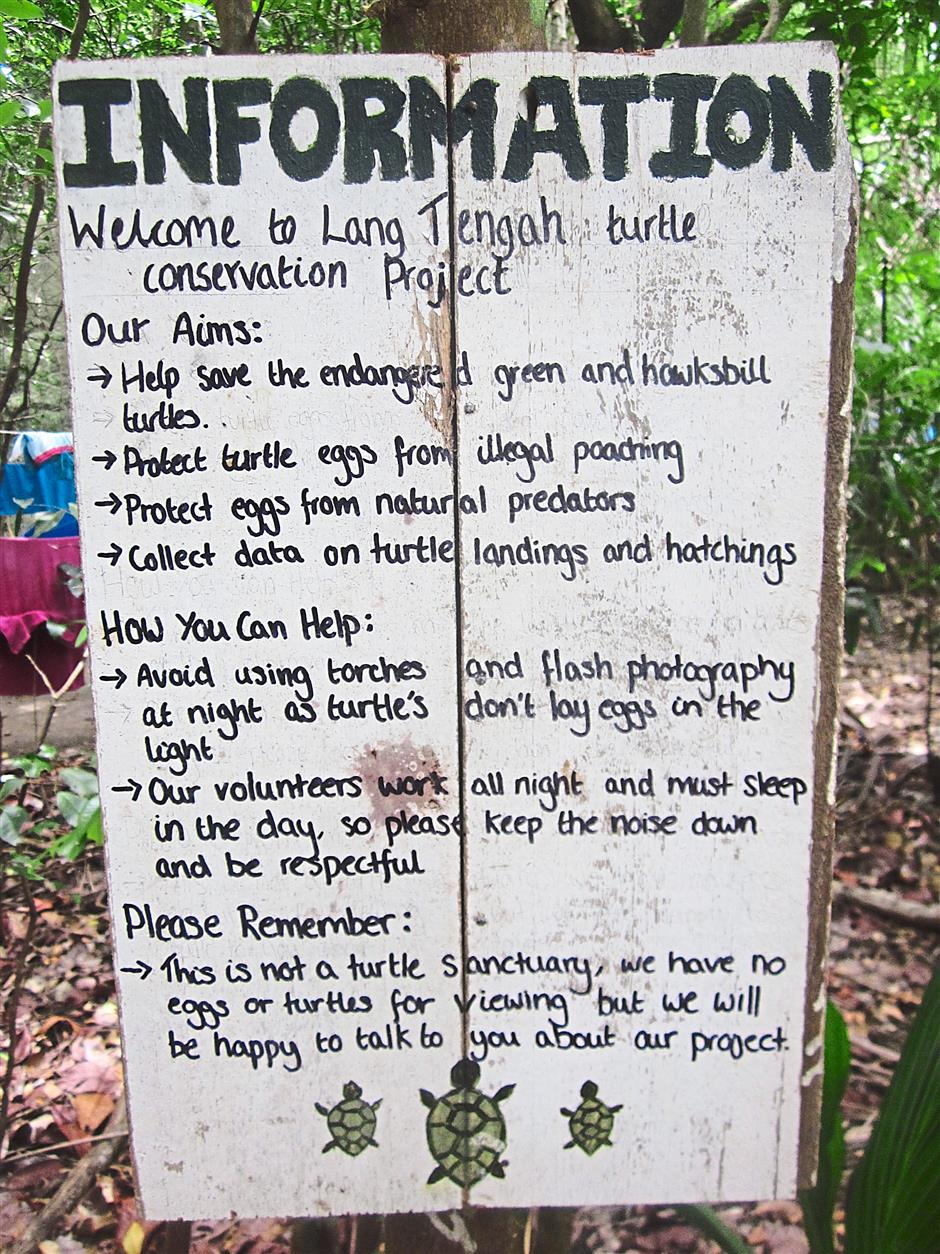 This sign informs visitors of the dos and don'ts to safeguard green and hawksbill turtles which nest on 	the island.
