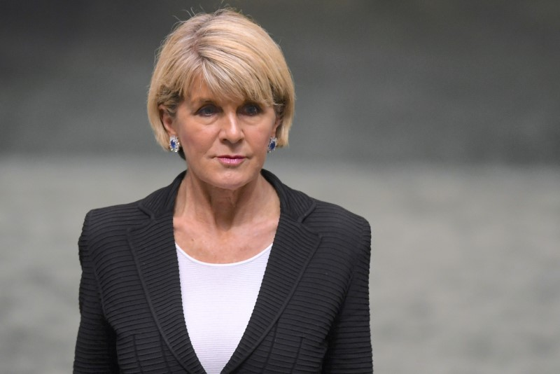 FILE PHOTO: Australian Foreign Minister Julie Bishop arrives in the House of Representatives at the Parliament House in Canberra, Australia, August 23, 2018. AAP/Lukas Coch/via REUTERS