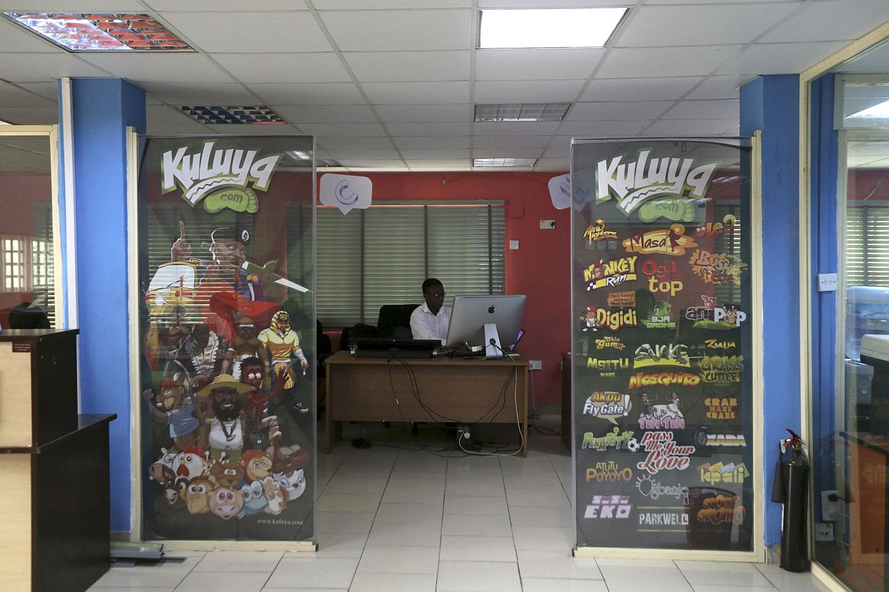 HARDSCRABBLE INDUSTRY: An employee working at the Kuluya Games office at Anthony district in Nigeria's commercial capital of Lagos. — Reuters
