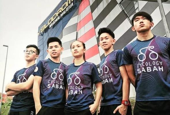 All the best: Cycology Sabah Racing Team cyclists (from left) Lim Chun Kiat, Bong Yong Xian, Chika Cherryca Chia, Waldron Chee and Darren Chong will be competing in the Taiwan International Track Cup in Kaohsiung this weekend.