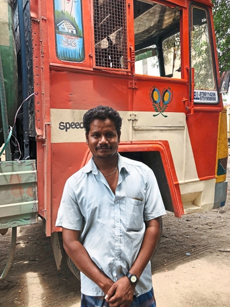 Job opportunity: For 28-year-old truck driver Anbu, the drought has been a source of work albeit with occupational hazards.