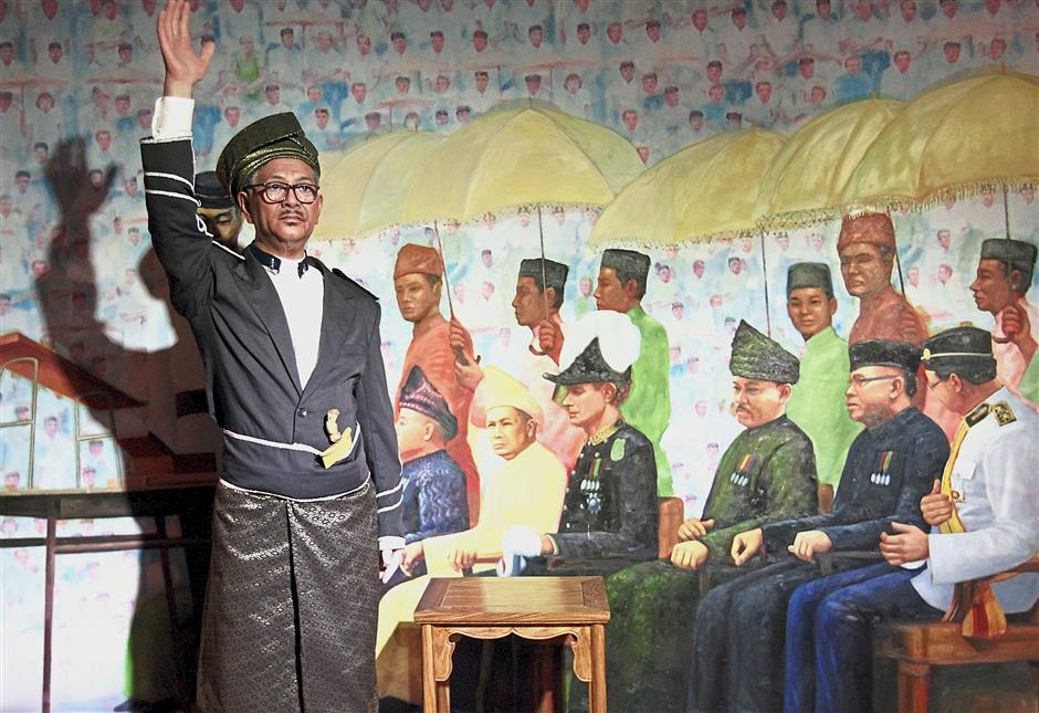 A true Malaysian: Lim has installed the re-enactment of the historic Merdeka declaration by Tunku at the Red Carpet Interactive Wax Museum in Leisure Parki-City.