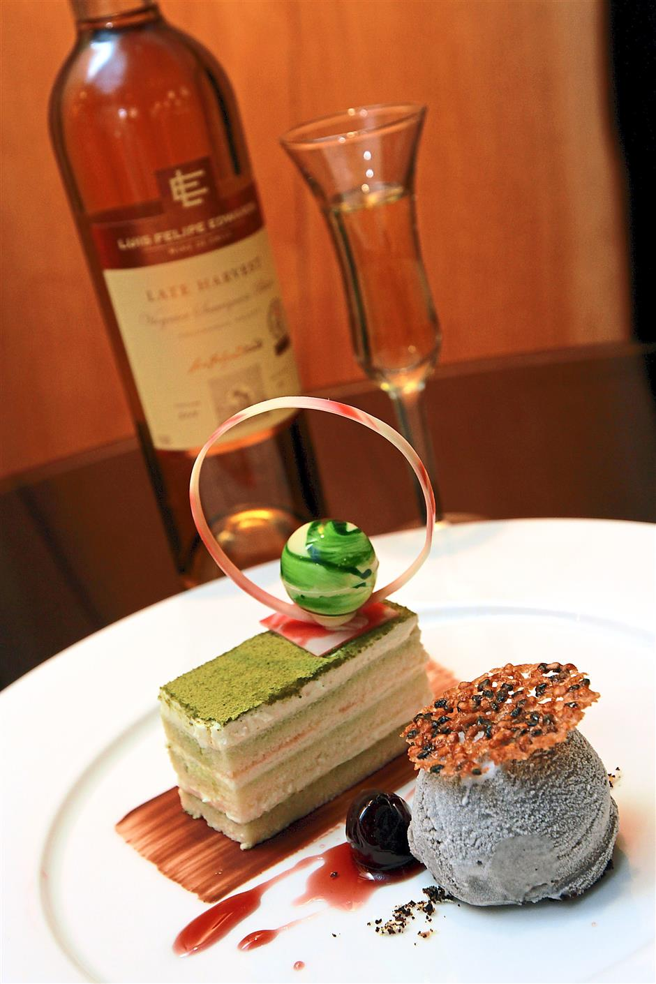 Simply great: For dessert, Green Tea Tiramisu, Amarena Cherry and Black Sesame Ice-Cream is paired with a Luise Felipe Edwards Reserva Late Harvest.