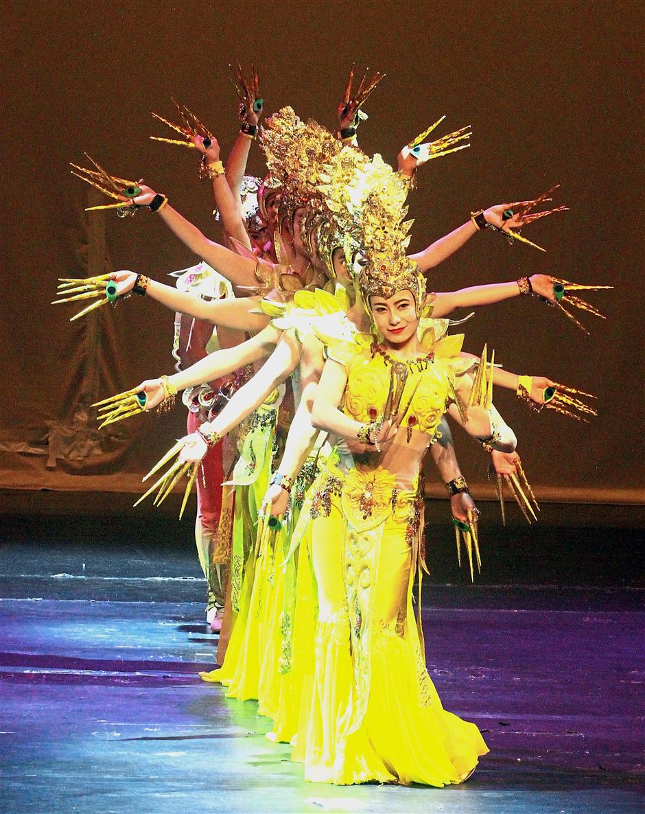 Performers from the Gansu Art Troupe, China, showcasing their Thousand Hands Guan Yin dance during the China Acrobatic Night.