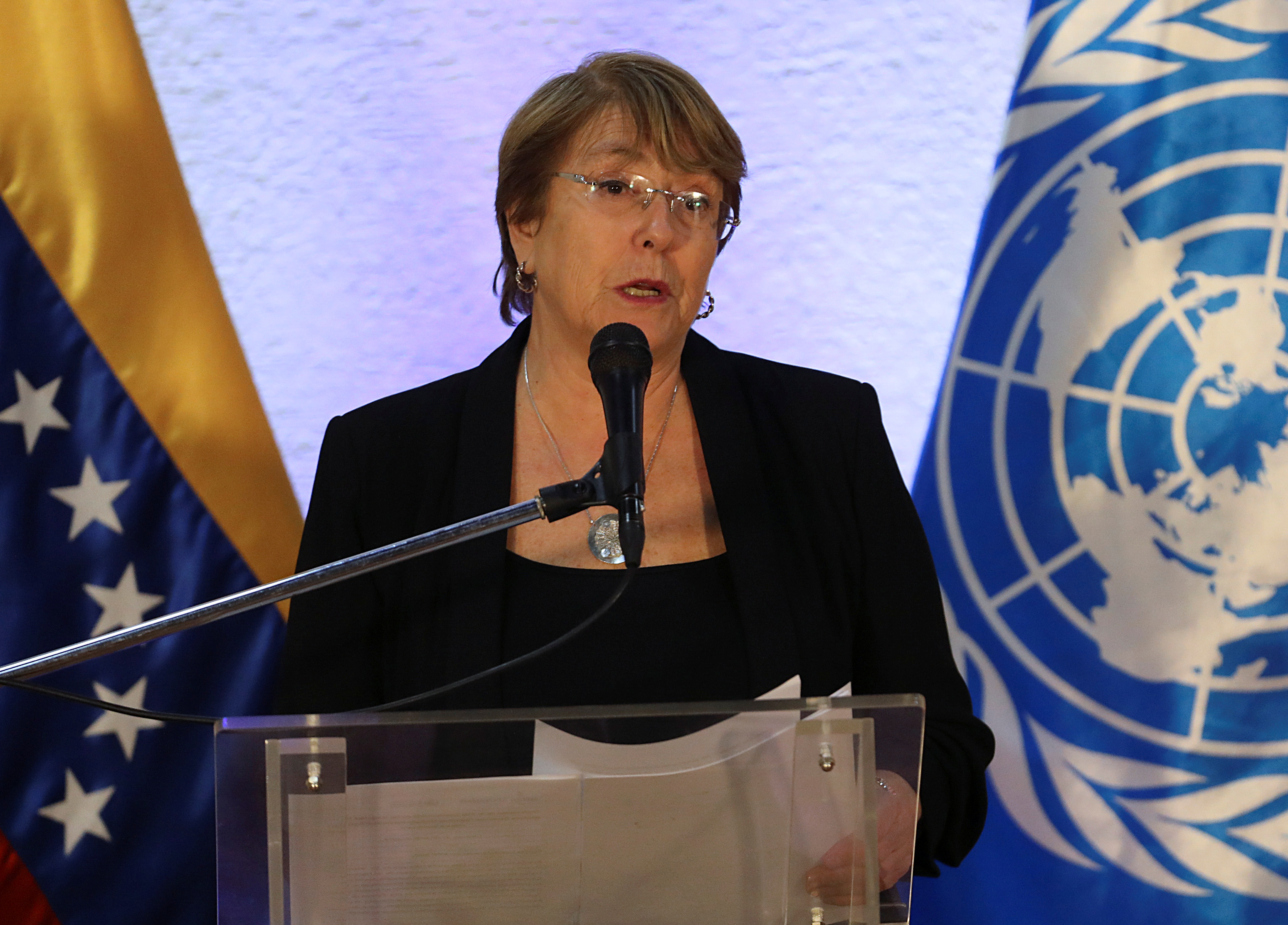 U.N. High Commissioner for Human Rights Michelle Bachelet speaks at a news conference after meeting with Venezuela's President Nicolas Maduro in Caracas, Venezuela, June 21, 2019. REUTERS/Fausto Torrealba