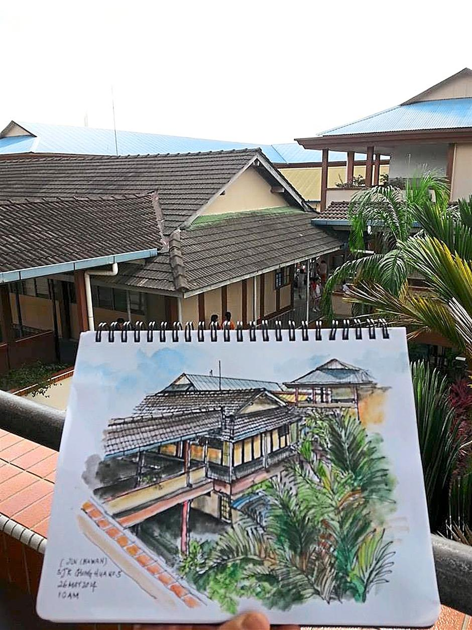 Representation: A depiction of SJKC Chung Hua No 5 Kuching by Yvonne Yeo, who sketched it during recess at the school.